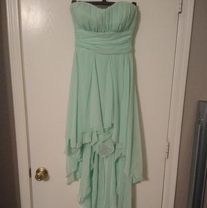Mint High-low Strapless Dress